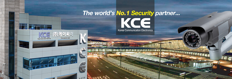 KCE main banner, blue in color showing a digital surveillance camera, the KCE factory located in Taiwan and an image of the airport in Taiwan and the words FThe world's No 1 Security partner KCE Korea Communication Electronics.