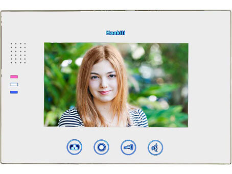 Image of the Haakili M741MB, glossy black monitor. It shows a young lady, and the operational buttons around the  outside of the screen. This is a 7 inch screen from Haakili.Image of the Haakili M741MB, glossy black monitor. It shows a young lady, and the operational buttons around the  outside of the screen. This is a 7 inch screen from Haakili.
