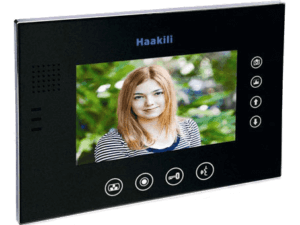 Image of the Haakili M741MB, glossy black monitor. It shows a young lady, and the operational buttons around the outside of the screen. This is a 7 inch screen from Haakili.