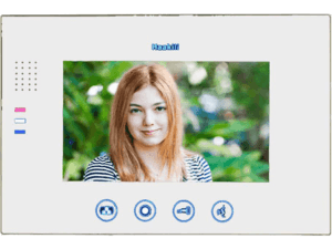 Image of the Haakili M741W, glossy white monitor. It shows a young lady, and the operational buttons under the 7 inch screen from Haakili.